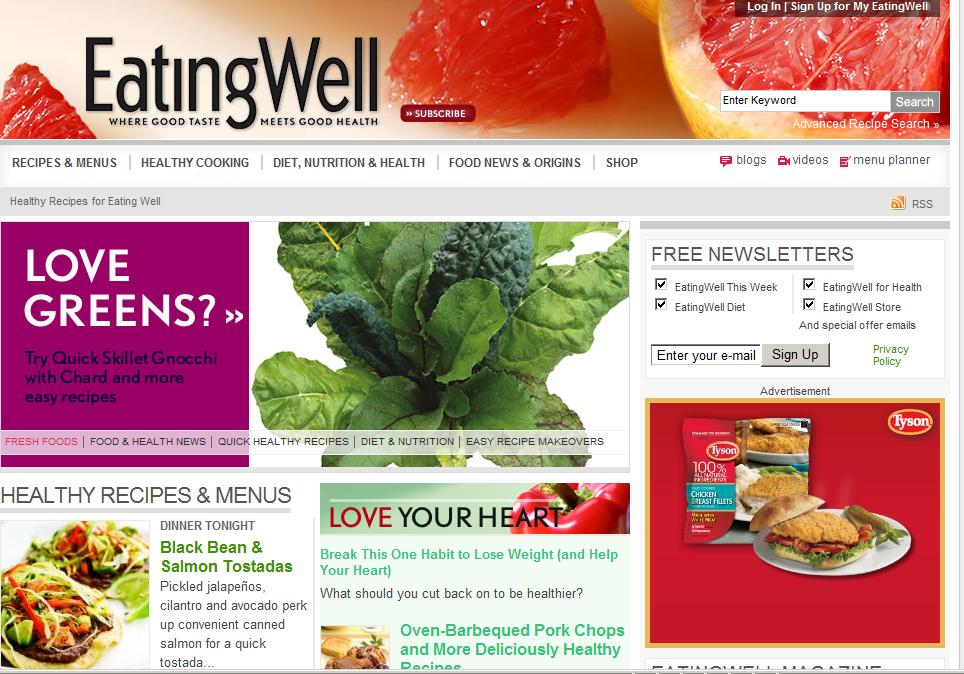 eating well webpage