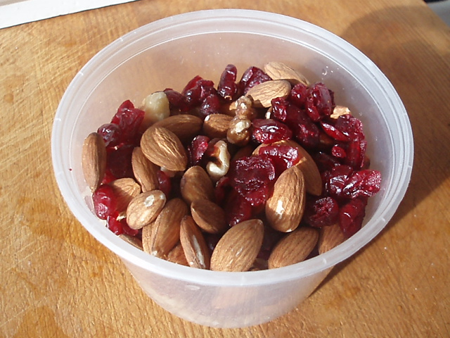Nuts and dried cranberries