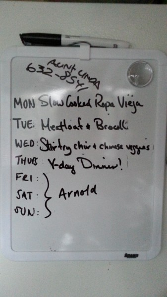 meal plan white board