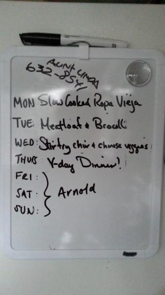 meal plan white board