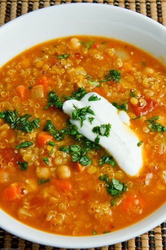 Curried Red Lentil with Chickpeas and Quinoa