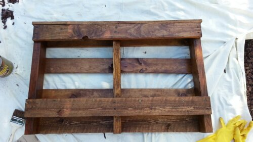 stained pallet shelf